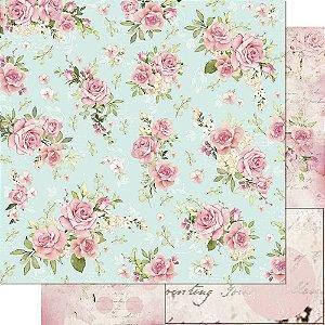 Papel Para Scrapbook 30,5 Cm X 30,5 Cm - Coleção Mon Monde Rose Daia Casagrande - SD-1177