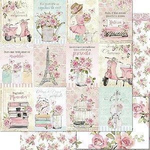Papel Para Scrapbook 30,5 Cm X 30,5 Cm - Coleção Mon Monde Rose Daia Casagrande - SD-1178