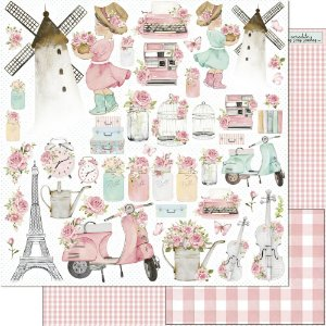 Papel Para Scrapbook 30,5 Cm X 30,5 Cm - Coleção Mon Monde Rose Daia Casagrande - SD-1179