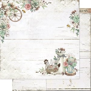 Papel Para Scrapbook 30,5 Cm X 30,5 Cm - Country e Flores - SD-1180
