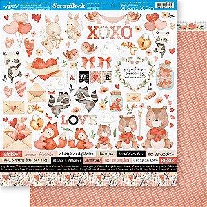 Papel Para Scrapbook 30,5 Cm X 30,5 Cm - AMOR AQUARELA RECORTES SD-1187