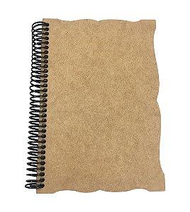 Caderno Capa MDF Trabalhada M 1/4 - 96 folhas 20x14 cm