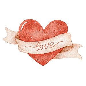 APM8-1309 Aplique Em Papel/ MDF - AMOR AQUARELA CORAÇÃO LOVE