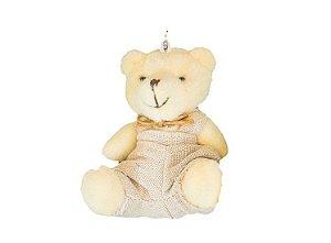 Ursinho Menino Macacão Branco Urso Pelúcia