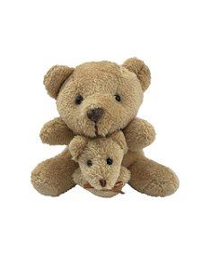 Ursinho Pelúcia Com Filhote Colo Decoração Urso Pelúcia