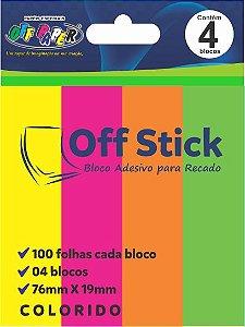 Bloco Com 100 Post It Neon Notas 76x19 mm - 4 Cores Neon