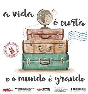 Papel Scrapbook 180g OPA 15x15 cm - OPACARD 2771 Viagem 1