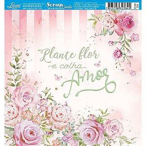 Papel Scrapbook 180g Litoarte 15x15 cm - Card SCXV-001 ROSAS AQUARELA