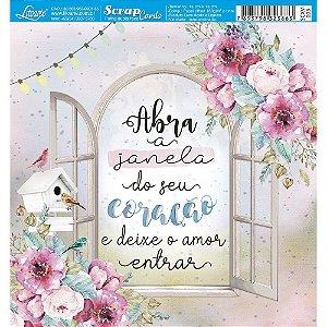 Papel Scrapbook 180g Litoarte 15x15 cm - Card SCXV-003 JANELA COM FLORES