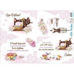 DUPLICADO - Papel Slim Paper Decoupage Litoarte 47,3x33,8 SPL-057 COSTURA, PASSAROS, ROSAS