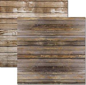 Papel Para Scrapbook Dupla Face 30,5x30,5 cm Arte Fácil - SC-509 - Textura Madeira 2