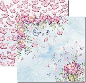 Papel Para Scrapbook Dupla Face 30,5x30,5 cm Arte Fácil - SC-532 - Butterfly 4