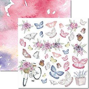Papel Para Scrapbook Dupla Face 30,5x30,5 cm Arte Fácil - SC-570 - Butterfly 10