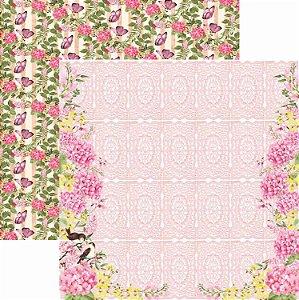 Papel Para Scrapbook Dupla Face 30,5x30,5 cm Arte Fácil - SC-403 - Hortênsias 3