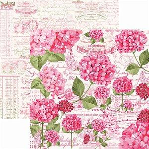 Papel Para Scrapbook Dupla Face 30,5x30,5 cm Arte Fácil - SC-401 - Hortênsias 1