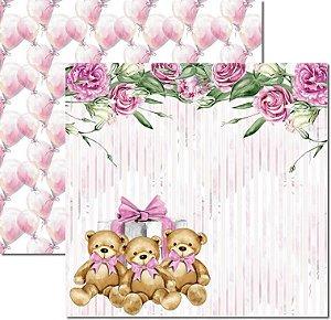 Papel Para Scrapbook Dupla Face 30,5x30,5 cm Arte Fácil - SC-497 - My Baby Girl 2