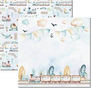 Papel Para Scrapbook Dupla Face 30,5x30,5 cm Arte Fácil - SC-494 - My Baby Boy 2