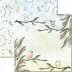 Papel Para Scrapbook Dupla Face 30,5x30,5 cm Arte Fácil - SC-474 - Passarinhos 2