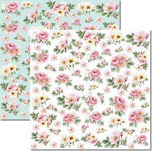Papel Para Scrapbook Dupla Face 30,5x30,5 cm Arte Fácil - SC-467 - Rose e Mint 1