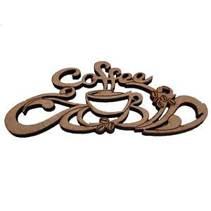 Aplique Laser MDF - Coffee E Xícara Com Arabesco - 15cm