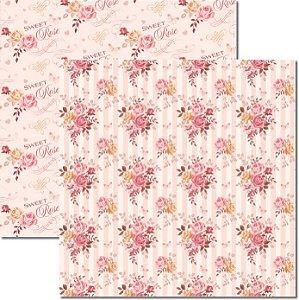 Papel Para Scrapbook Dupla Face 30,5x30,5 cm Arte Fácil - SC-313 - Bouquet 3