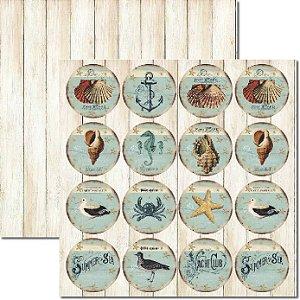 Papel Para Scrapbook Dupla Face 30,5x30,5 cm Arte Fácil - SC-289 - Tags Beach 2