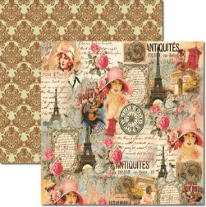 Papel Para Scrapbook Dupla Face 30,5x30,5 cm Arte Fácil - SC-354 - Paris Shabby 4