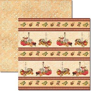 Papel Para Scrapbook Dupla Face 30,5x30,5 cm Arte Fácil - SC-341 Frutas Vintage 3