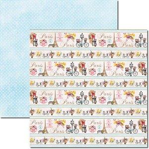 Papel Para Scrapbook Dupla Face 30,5x30,5 cm Arte Fácil - SC-322 Paris Shabby 2
