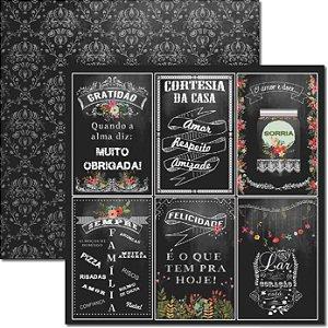 Papel Para Scrapbook Dupla Face 30,5x30,5 cm Arte Fácil - SC-272 Chalkboard