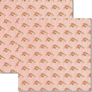 Papel Para Scrapbook Dupla Face 30,5x30,5 cm Arte Fácil - SC-196 Rosas e Arabesco 2