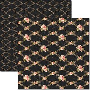 Papel Para Scrapbook Dupla Face 30,5x30,5 cm Arte Fácil - SC-175 Craquelê Preto