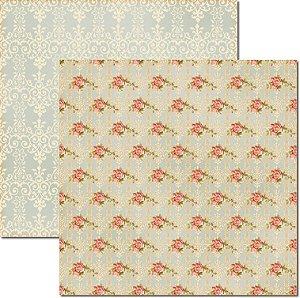 Papel Para Scrapbook Dupla Face 30,5x30,5 cm Arte Fácil - SC-159 Rosas e Arabesco