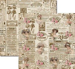 Papel Para Scrapbook Dupla Face 30,5x30,5 cm Arte Fácil - SC-130 Damas Newspaper 2