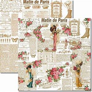 Papel Para Scrapbook Dupla Face 30,5x30,5 cm Arte Fácil - SC-129 Damas Newspaper 1