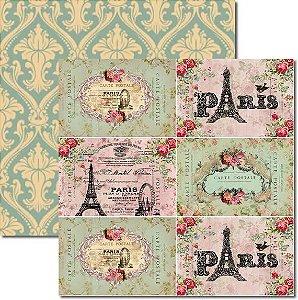 Papel Para Scrapbook Dupla Face 30,5x30,5 cm Arte Fácil - SC-124 Cartão Postal Paris
