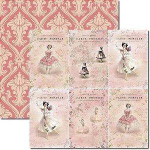 Papel Para Scrapbook Dupla Face 30,5x30,5 cm Arte Fácil - SC-123 Cartão Postal Bailarina