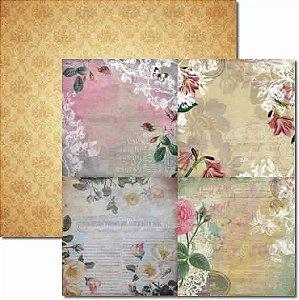 Papel Para Scrapbook Dupla Face 30,5x30,5 cm Arte Fácil - SC-095 15x15 Flores