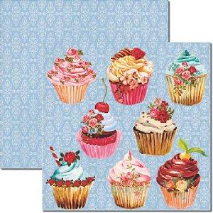 Papel Para Scrapbook Dupla Face 30,5x30,5 cm Arte Fácil - SC-237 Cupcakes 2