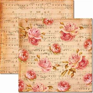 Papel Para Scrapbook Dupla Face 30,5x30,5 cm Arte Fácil - SC-203 Música e Flores