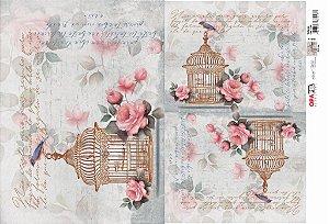 Papel Decoupage 30x45 cm OPAPEL 2525 - Gaiola Vintage