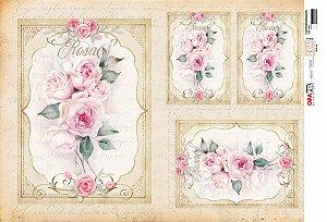 Papel Decoupage 30x45 cm OPAPEL 2815 - Flor Rosas Moldura