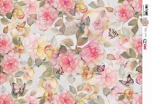 Papel Decoupage 30x45 cm OPAPEL 2532 - Flor Rosas Moldura