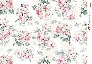 Papel Decoupage 30x45 cm OPAPEL 2563 - Estampa Flores Rosas Vintage