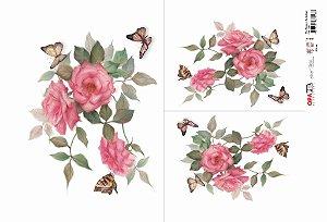 Papel Decoupage 30x45 cm OPAPEL 2483 - Flores Rosas e Borboletas