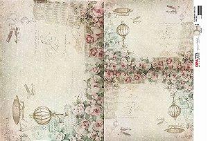 Papel Decoupage 30x45 cm OPAPEL 2814 - Flor Rosas e Balões