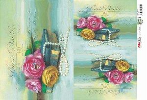 Papel Decoupage 30x45 cm OPAPEL 2393 - Flores e Livros