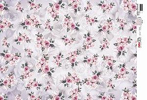 Papel Decoupage 30x45 cm OPAPEL 2811 - Estampa Flores Rosas