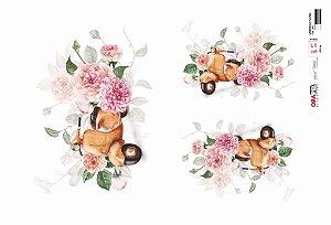 Papel Decoupage 30x45 cm OPAPEL 2817 - Lambreta e Flores