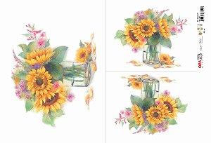 Papel Decoupage 30x45 cm OPAPEL 2482 - Flor Girassol I